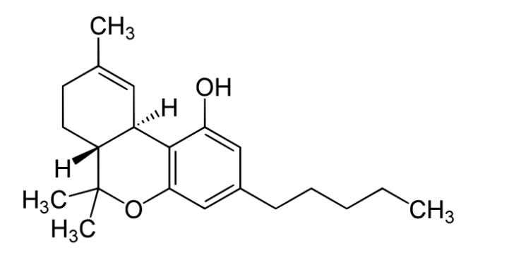 THC Δ9-tetrahydrokannabinol - wzór sumaryczny C21H30O2